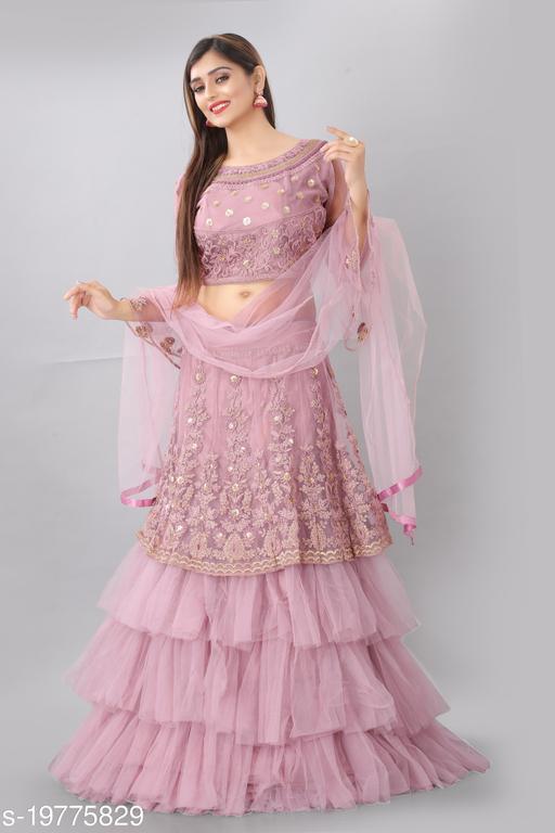 Angel Trends Pink Nylon Net Glitter Coding Semi Stitched Lehenga Choli with Dupatta