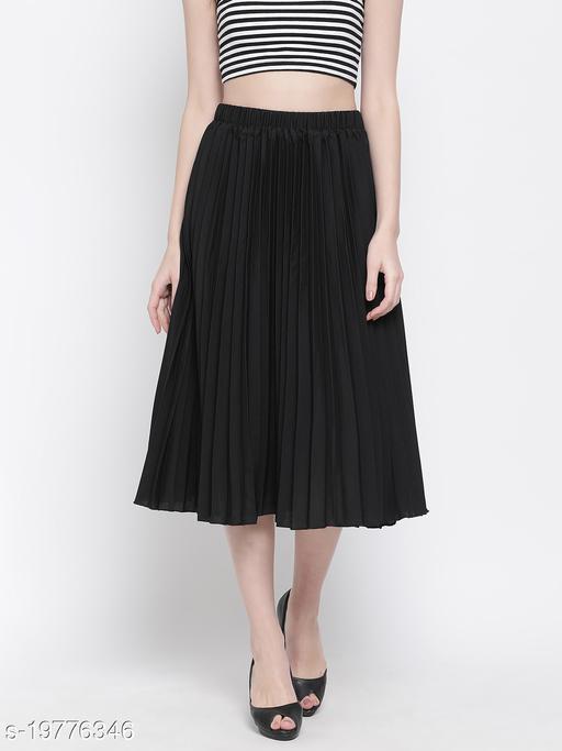 Black East Pleated Women Skirt