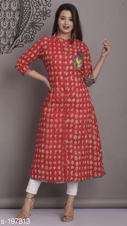 Divena Women's Cotton Ethnic Motif Printed A-line Kurti