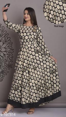 Divena Women's Rayon Abstract Printed Flared Kurti
