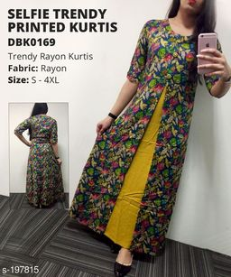 Divena Women's Rayon Botanical Printed Layered Kurti