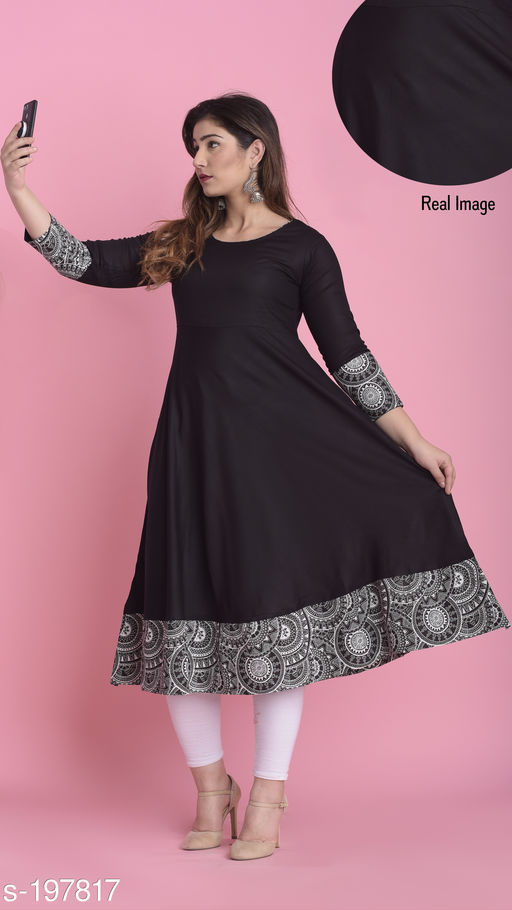 Kurtis & Kurtas Quarter Sleeve Long Rayon Kurti  *Fabric* Kurti - Rayon  *Sleeves* Sleeves Are Included  *Size * XS,S,M,L,XL,XXL,3XL,4XL,5XL,6XL,7XL (Refer Size Chart)  *Type* Stitched  *Description* It Has 1 Piece Of Kurti  *Work* Printed  *Sizes Available* XS, S, M, L, XL, XXL, XXXL, 4XL, 5XL, 6XL, 7XL   Catalog Rating: ★4.4 (7884) Supplier Rating: ★4.3 (21646) SKU: DK0118 Free shipping is available for this item. Pkt. Weight Range: 300  Catalog Name: Women's Selfie Kurtis - DDRPL Code: 077-197817--