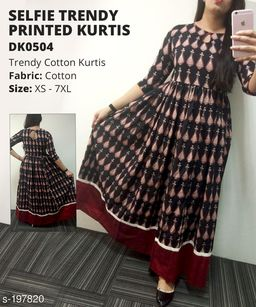 Divena Women's Cotton Ethnic Motif Printed Flared Kurti