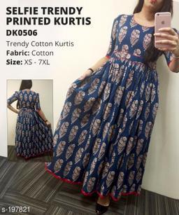 Divena Women's Cotton Botanical Printed Flared Kurti