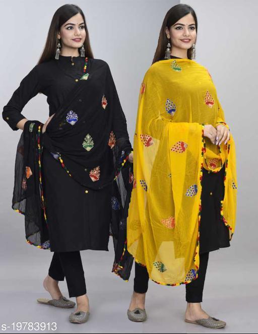 DIAMO Zari Embroidery Work Phulkari Dupatta Pack Of 2