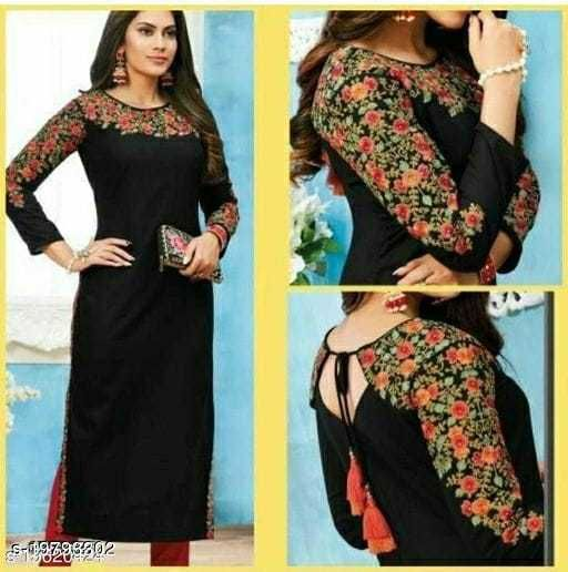 Women's Beautiful Black Embroidered Kurti