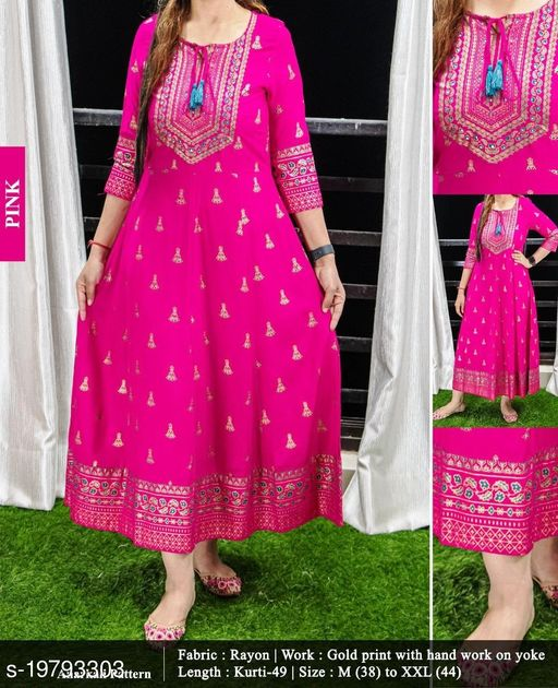 Women's Beautiful Anarkali Pattern Gold Print With Hand work Pink Kurti