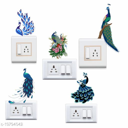 Decals Stock Peacock Design Switch Board Vinyl Wall Switchboard Sticker , Multicolor
