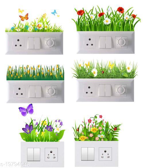 Decals Stock Vinyl Green Grass Flowers Wall Switchboard Sticker,Multicolor