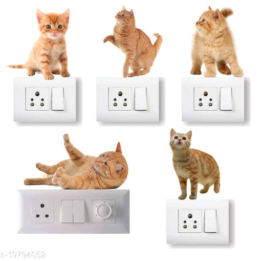 Decals Stock Vinyl Cute Cat Wall Switchboard Sticker,Multicolor