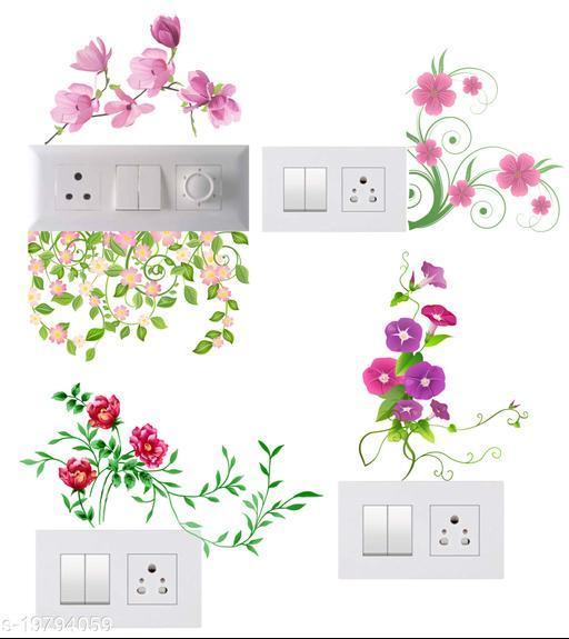 Decals Stock Vinyl Flowers Art Wall Switchboard Sticker,Multicolor
