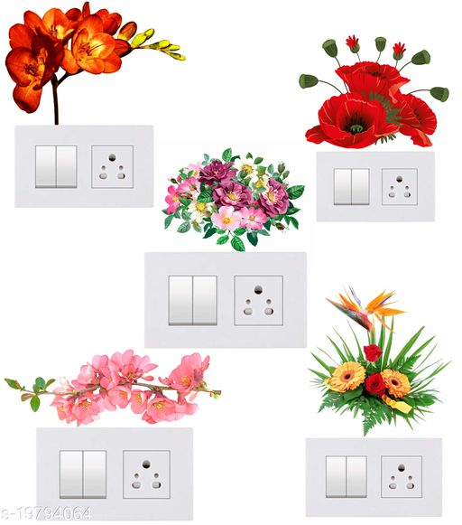 Decals Stock Vinyl Flowers Wall Switchboard Sticker,Multicolor