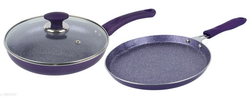 ETHICAL ROYALE Series Induction Fry Pan & Dosa Tawa combo/ 3 pcs Cookware Set/ Cookware with Glass Lid. Induction Induction Bottom