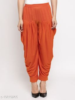 Women Orange Modern Lycra Solid Salwar