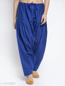 Women Blue Cotton Solid Cotton Salwar