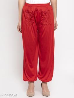 Women Red Modern Lycra Solid Harem pant