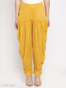 Women Yellow Modern Lycra Solid Salwar