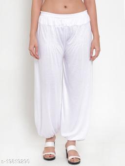 Women White Modern Lycra Solid Harem pant