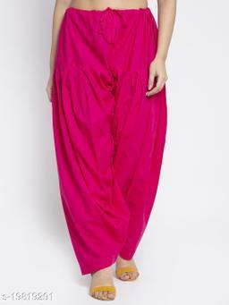 Women Pink Cotton Solid Cotton Salwar