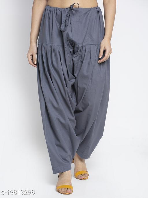 Women Grey Cotton Solid Cotton Salwar