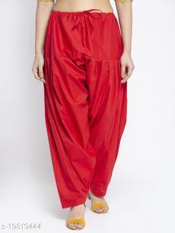 Women Red Cotton Solid Cotton Salwar