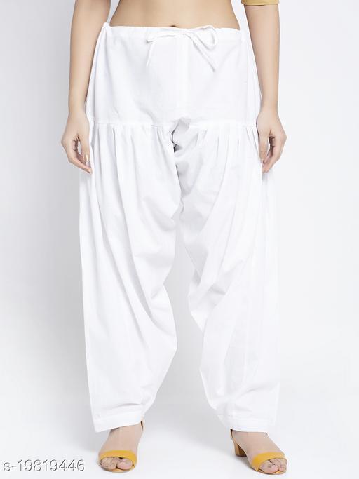 Women White Cotton Solid Cotton Salwar