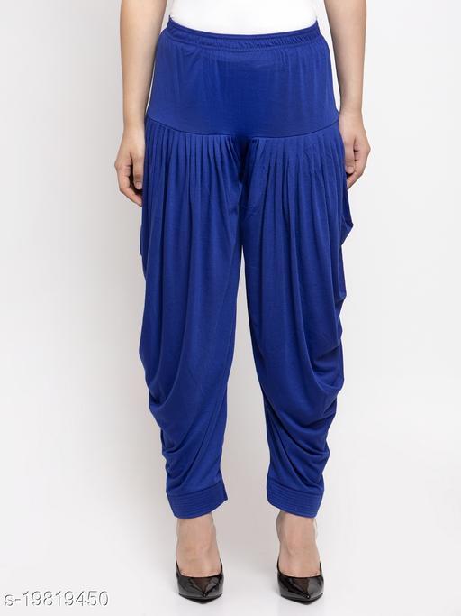 Women Blue Modern Lycra Solid Salwar