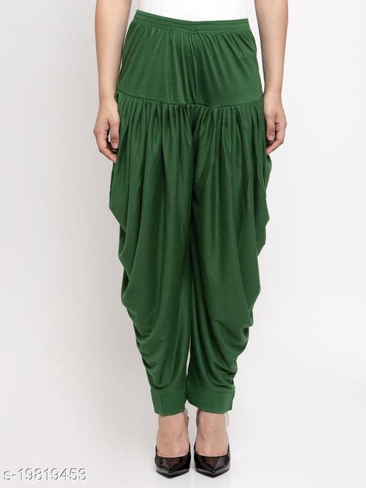 Women Green Modern Lycra Solid Salwar