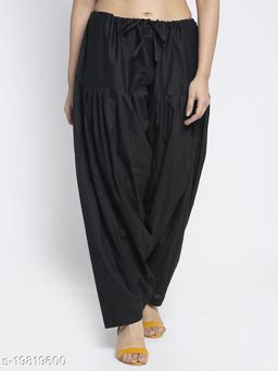 Women Black Cotton Solid Cotton Salwar