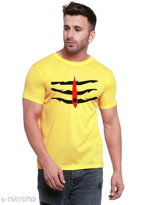 Hilgar Men's Regular Fit T Shirt (Shiv Tilak_Yellow )