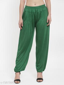 Women Green Modern Lycra Solid Harem pant