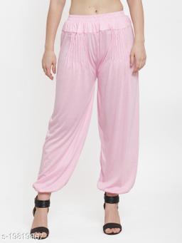 Women L.Pink Modern Lycra Solid Harem pant