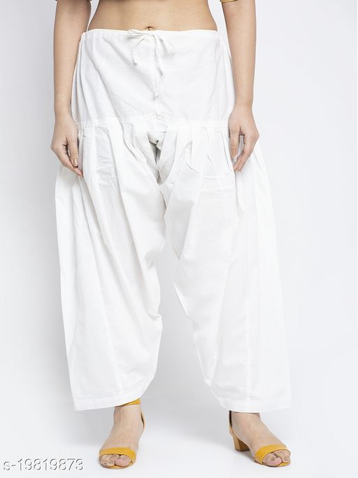 Women Off White Cotton Solid Cotton Salwar