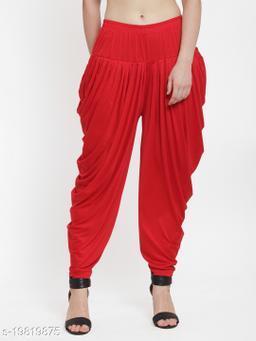 Women Red Modern Lycra Solid Dhoti Salwar