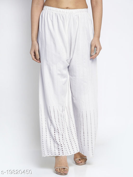 Women White Cotton Solid Sera Palazzo