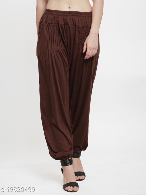 Women Brown Modern Lycra Solid Harem pant