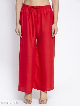 Women Red Rayon Solid Palazzo
