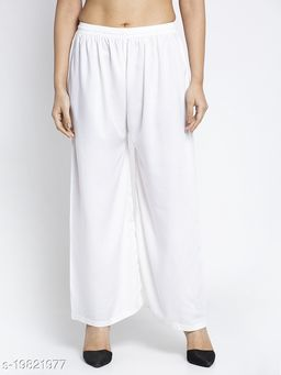 Women Off White Rayon Solid Palazzo