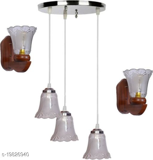 Afast Pandent Three Hanging Ceiling Lamp Como With Two Matching Wall Lamp Of Colorful & Decorative Glass Shade-Do43