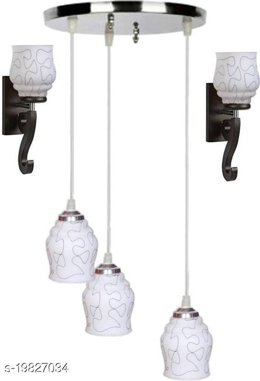 Afast Pandent Three Hanging Ceiling Lamp Como With Two Matching Wall Lamp Of Colorful & Decorative Glass Shade-Do53