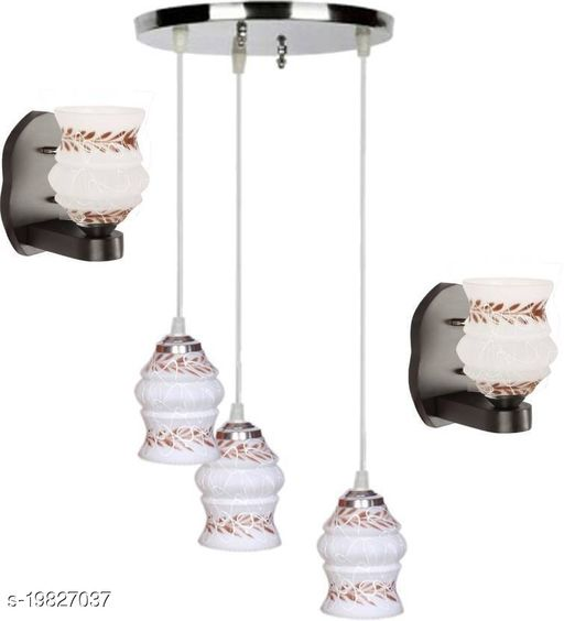 Afast Pandent Three Hanging Ceiling Lamp Como With Two Matching Wall Lamp Of Colorful & Decorative Glass Shade-Do56