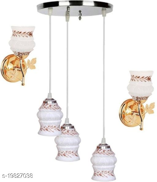 Afast Pandent Three Hanging Ceiling Lamp Como With Two Matching Wall Lamp Of Colorful & Decorative Glass Shade-Do54