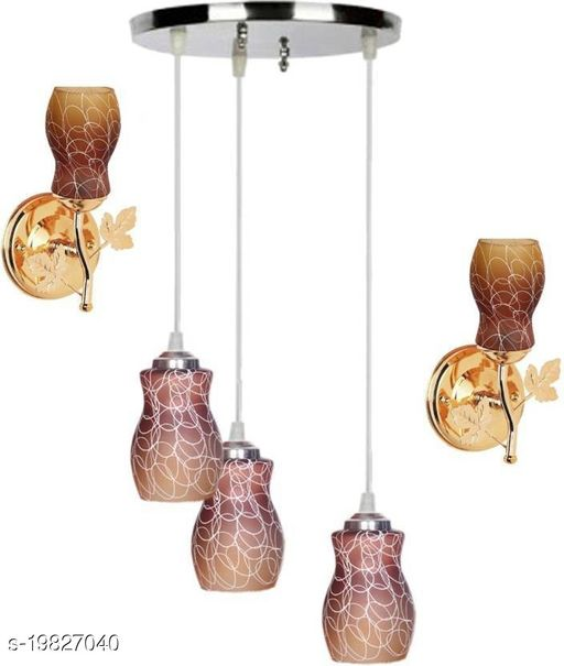 Afast Pandent Three Hanging Ceiling Lamp Como With Two Matching Wall Lamp Of Colorful & Decorative Glass Shade-Do36