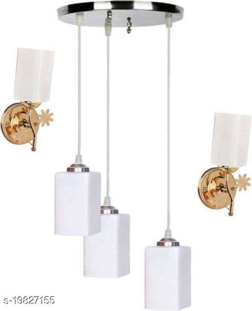 Afast Pandent Three Hanging Ceiling Lamp Como With Two Matching Wall Lamp Of Colorful & Decorative Glass Shade-Do357