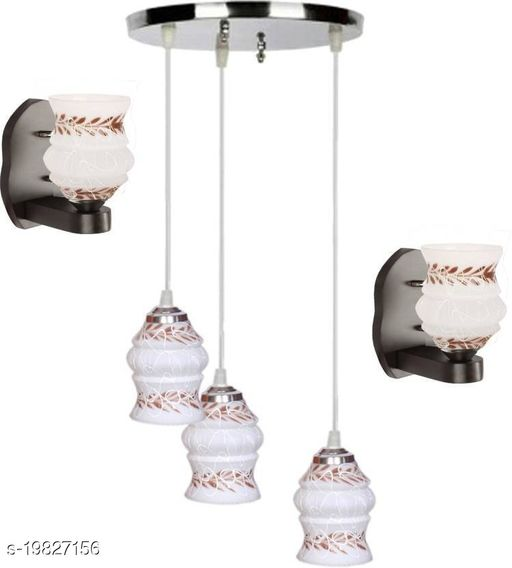 Afast Pandent Three Hanging Ceiling Lamp Como With Two Matching Wall Lamp Of Colorful & Decorative Glass Shade-Do64