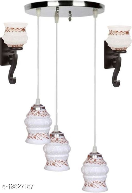 Afast Pandent Three Hanging Ceiling Lamp Como With Two Matching Wall Lamp Of Colorful & Decorative Glass Shade-Do37