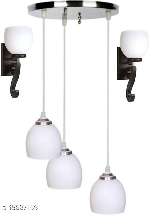 Afast Pandent Three Hanging Ceiling Lamp Como With Two Matching Wall Lamp Of Colorful & Decorative Glass Shade-Do62