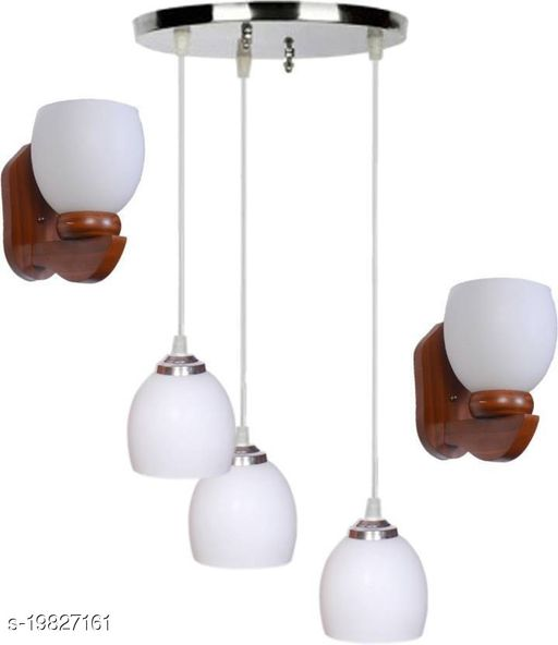 Afast Pandent Three Hanging Ceiling Lamp Como With Two Matching Wall Lamp Of Colorful & Decorative Glass Shade-Do65