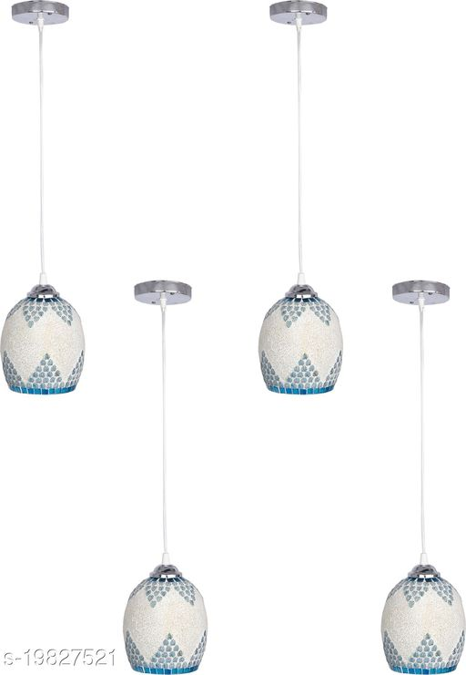 Afast Pendant Glass Ceiling Lamp Light Hand Decorative With Chips & Beads For Colorful & Magical Lighting Effect (Set Of Four)-Sp11