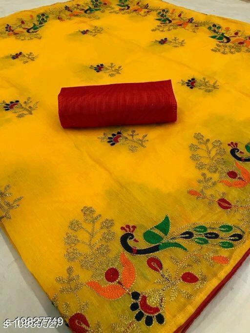 Free Mask Trendy Women's yellow Saree